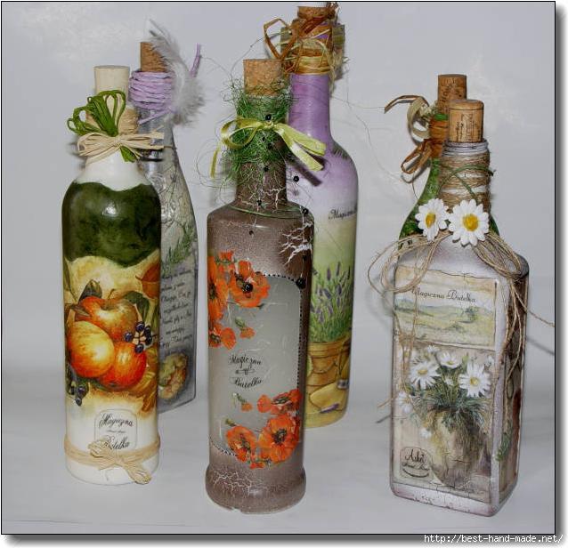 Оформить бутылку своими руками