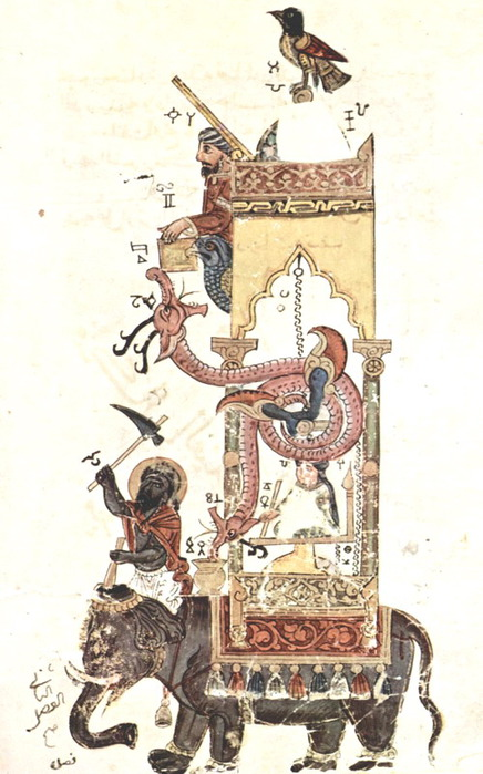 Syrian_Artist_nearly_1315_The_Book_of_Explanations_of_Al_Jazari_Mechanical_Apparatus_Equipment_Elephant_Clock_b (436x700, 100Kb)