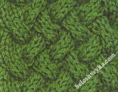 плетенка с увеличенным углом наклона контура на 8 петлях