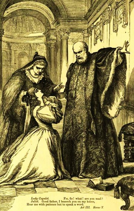 Отец заставляет Джульетту выйти замуж за Париса (445x700, 146Kb)