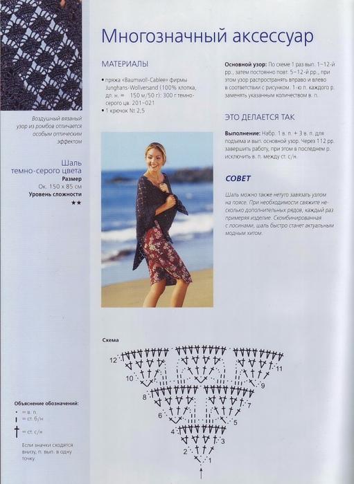 Вязание крючком шали из соломоновых петель