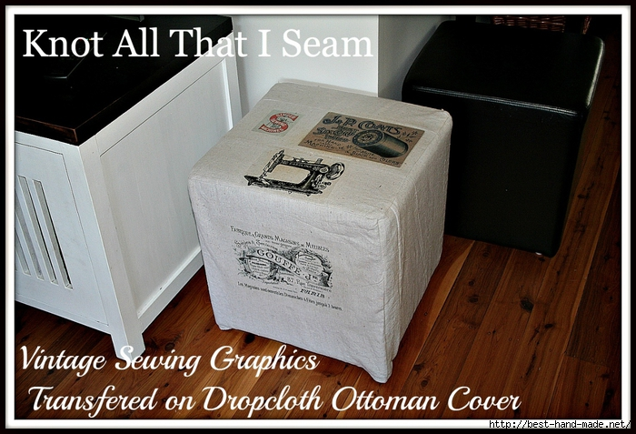 Vintage Sewing Graphics Transferred on Dropcloth Ottoman Cover (700x477, 280Kb)