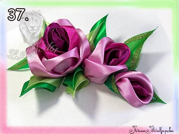 Цветок из лент мастер класс