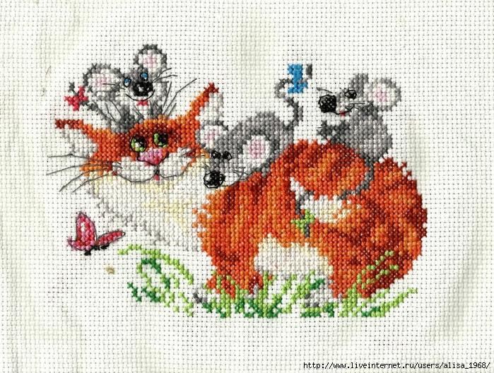 Кот с мышами вышивка