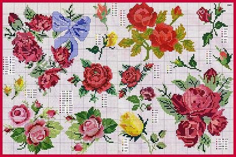 Мотивы для вышивки розы