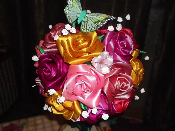 Корзина с цветами из лент своими руками