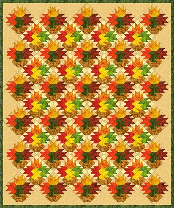 Leaf Vase Lap Quilt (586x700, 237Kb)
