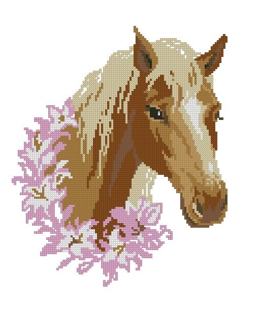 Вышивка крестиком - Лошадь в венке.  Категория.