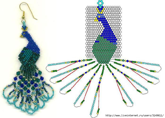 Схема кольца из бисера и риволи.  Метки: серьги из бисера серёжки сделаю сама серьги своими руками серьги видео мк...