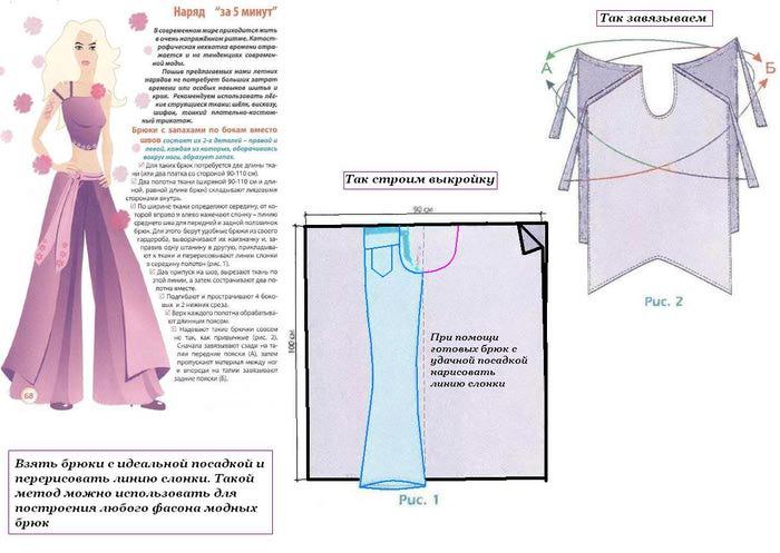 Как из широких брюк сшить платье 33