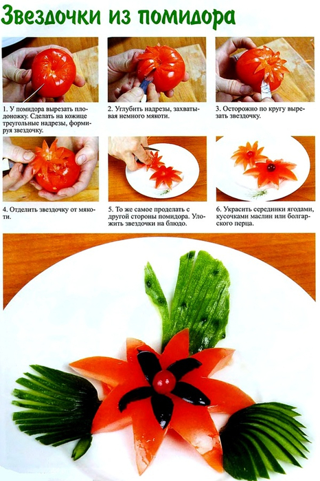 Простые украшения из овощей и фруктов своими руками