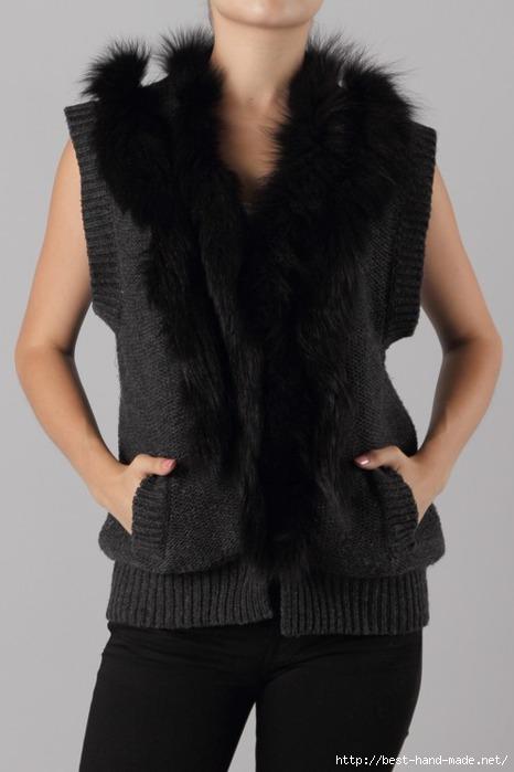 Fox Fur Trim Knitted Vest (466x700, 114Kb)