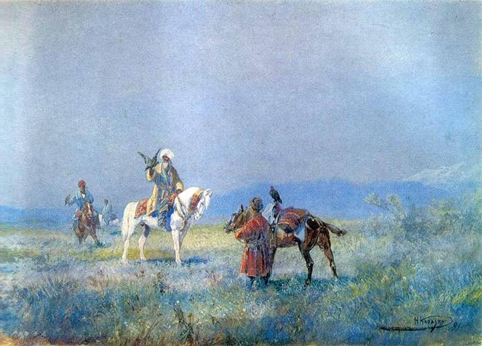 «Соколиная охота» Музей искусств Узбекистана (700x502, 119Kb)