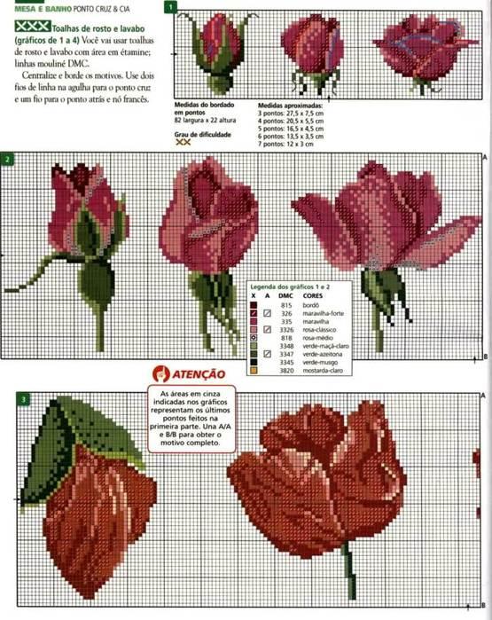 Схема вышивки маленькой розы крестом