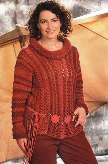 Пуловер в вертикальную полоску