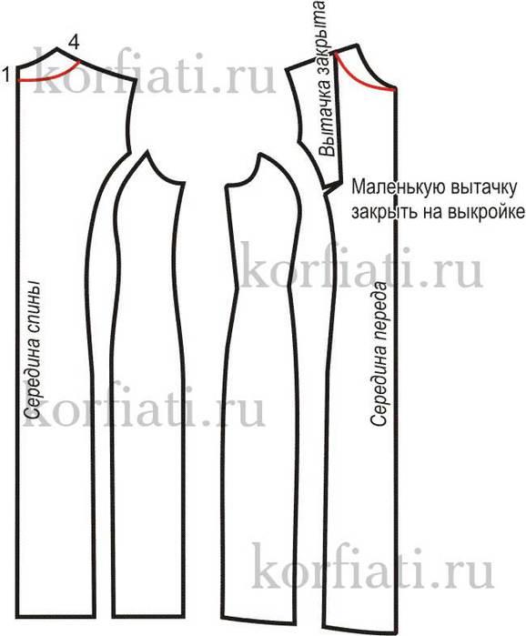 97Выкройка платье рельеф в пройме