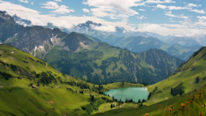 Картинка, горы, озеро, облака.  Фото актеров.  Wallpaper search engine.