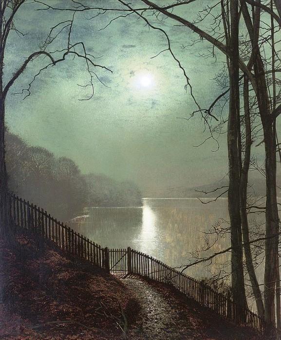 Лунный свет на озере, Раундхей Park, (577x700, 152Kb)