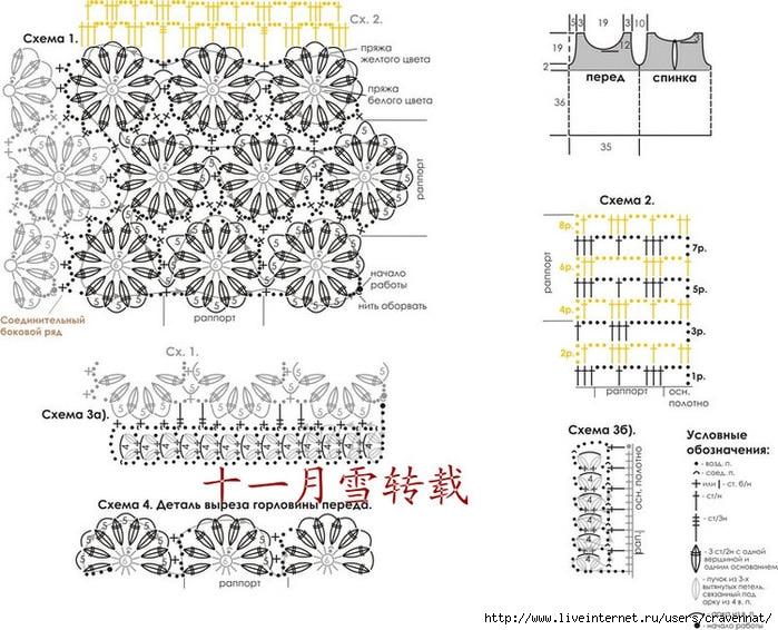 Основные узоры, применяемые при вязании майки: узоры крючком по схемам 1 и 2; вязаная тесьма по схеме 3...