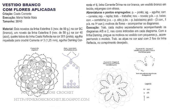 Vestido com Aplic Flores Croche . Gr. PRose Crochet (700x452, 65Kb)
