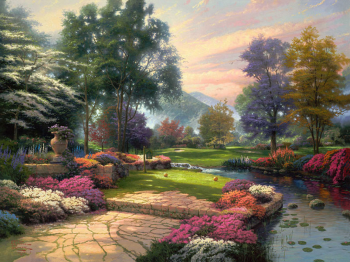 Thomas Kinkade Living Waters Painting anysize 50% off (700x524, 654Kb)