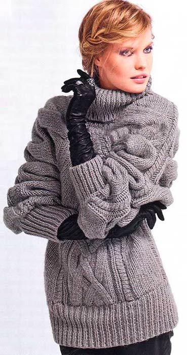 Пуловер-пончо (369x700, 57Kb)