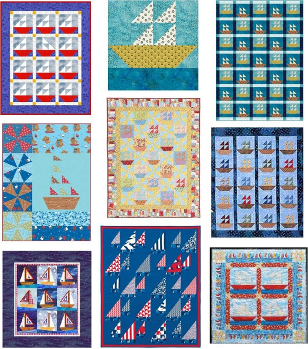 Sailboat quilts, free patterns at quiltinspiration.blogspot.com (616x700, 417Kb)