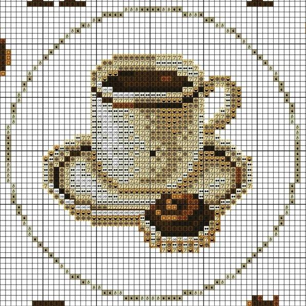 свой цитатник или сообщество!  Схема вышивки часов с чашкой кофе.  Прочитать целикомВ.