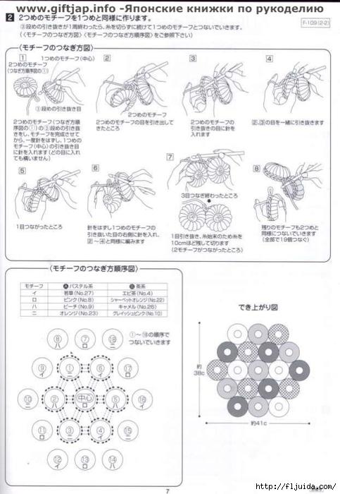 Вязание крючком японских ковриков схема
