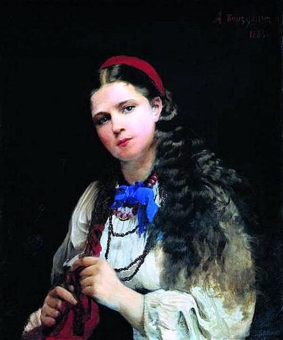 Девушка, заплетающая косу. А.Корзухин 1883 (582x700, 244Kb)