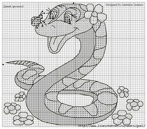 Схемы для вышивки змей.