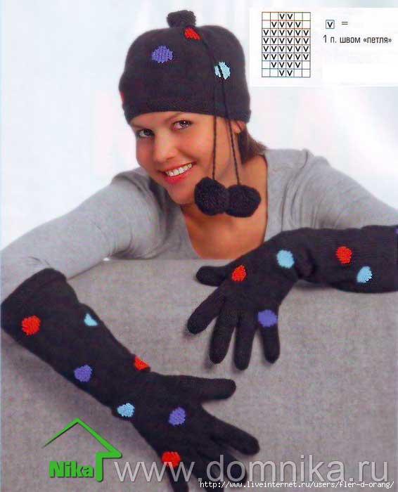 Шапочка и длинные перчатки.