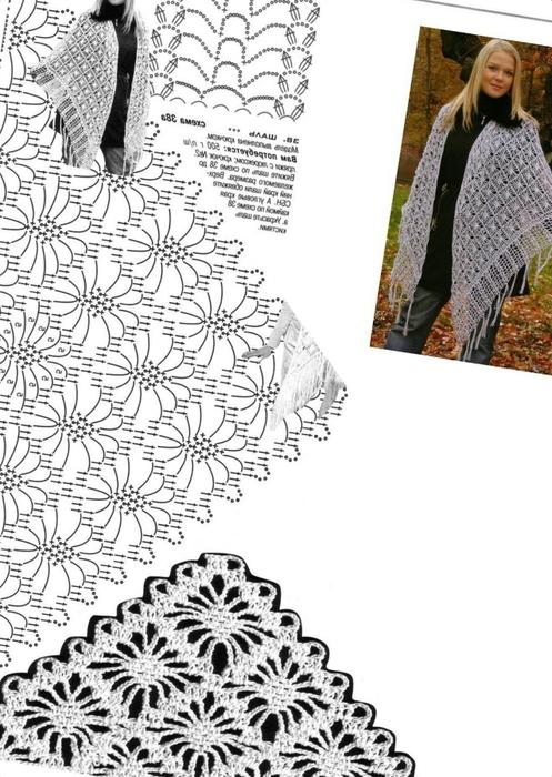 вязание шалей крючком из японских журналов схемы.