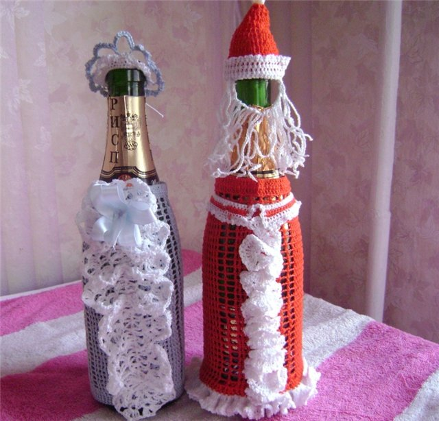 Вязание украшений на бутылку 65