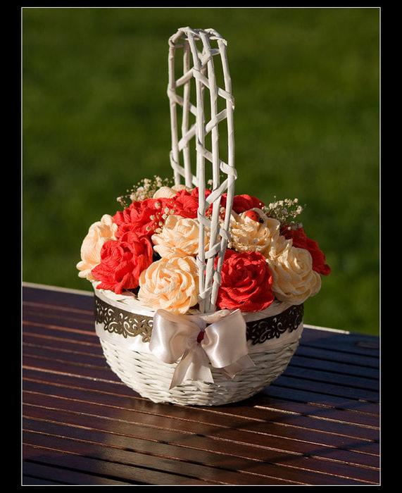 Фото цветы в корзине из гофрированной бумаги своими руками 12