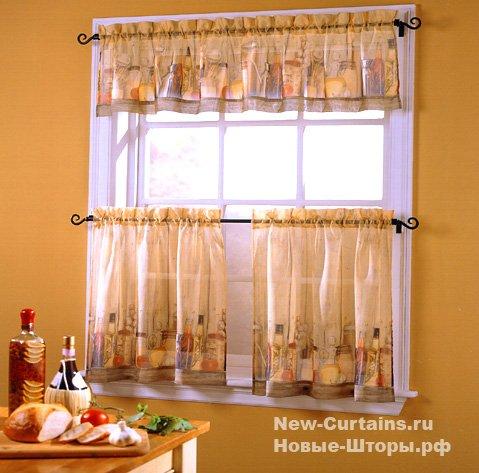 Короткие шторы на кухню фото 5