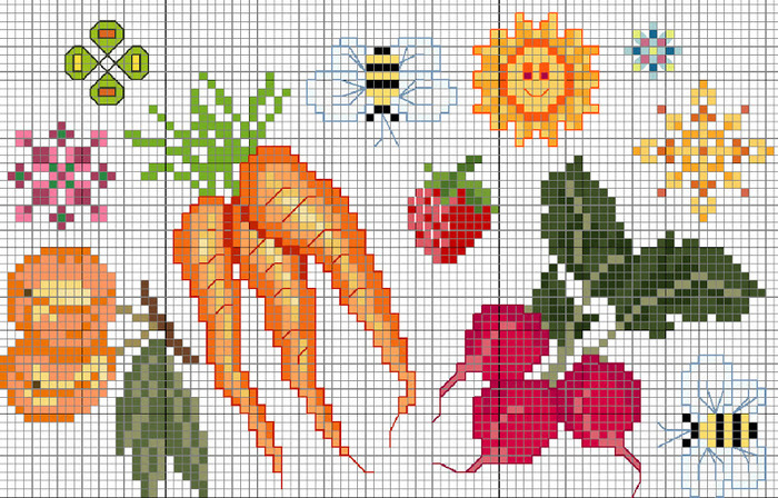 Схема вышивки крестом фрукты или овощи 502