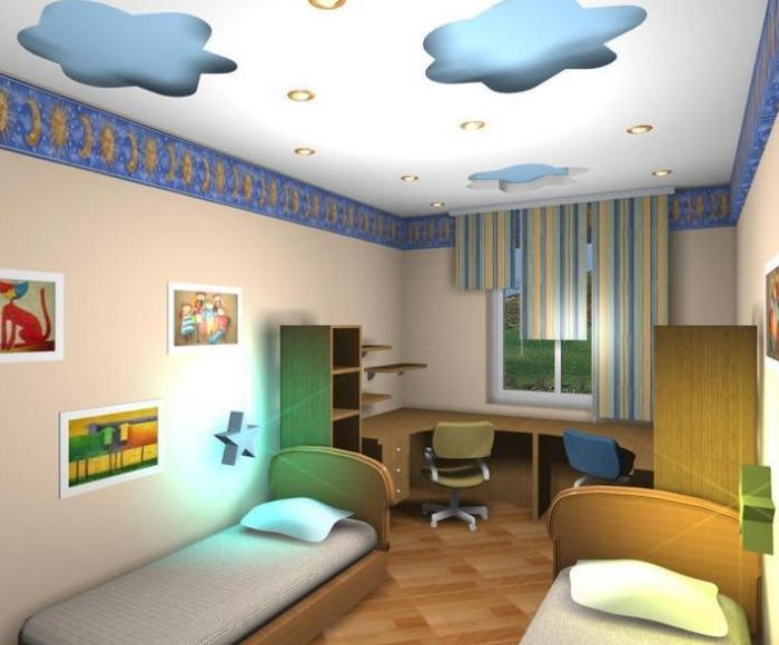 Фото гипсокартонных потолков в детской