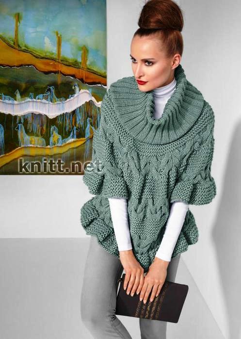 vyazanyj-spicami-pulover-poncho-s-uzorom-iz-kos (497x699, 134Kb)