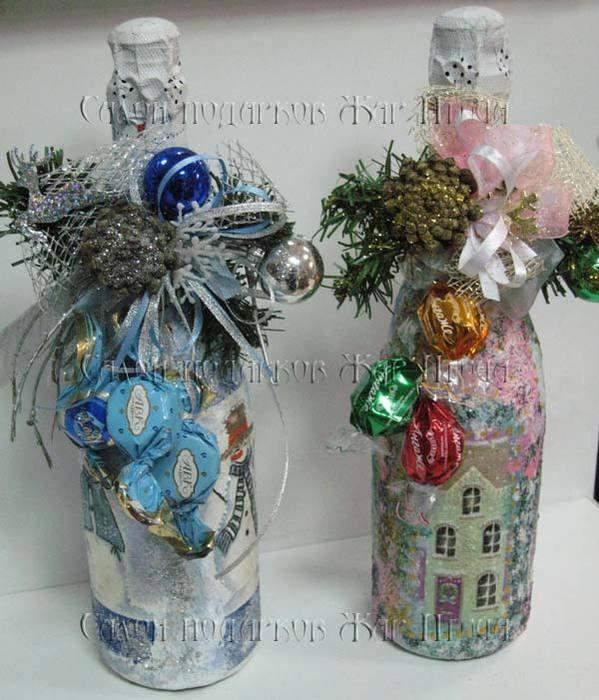 Новогодние бутылки шампанского из лент своими руками