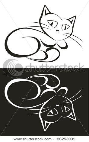 猫咪手带手绘黑白