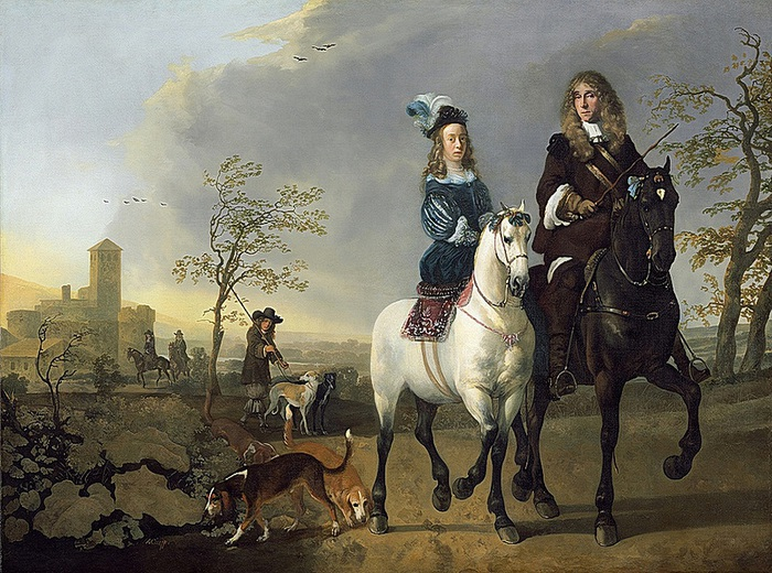 Aelbert Cuyp - Lady and Gentleman on Horseback (700x520, 183Kb)