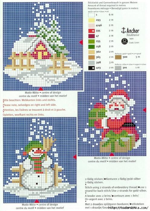 Схема новогодний вышивки