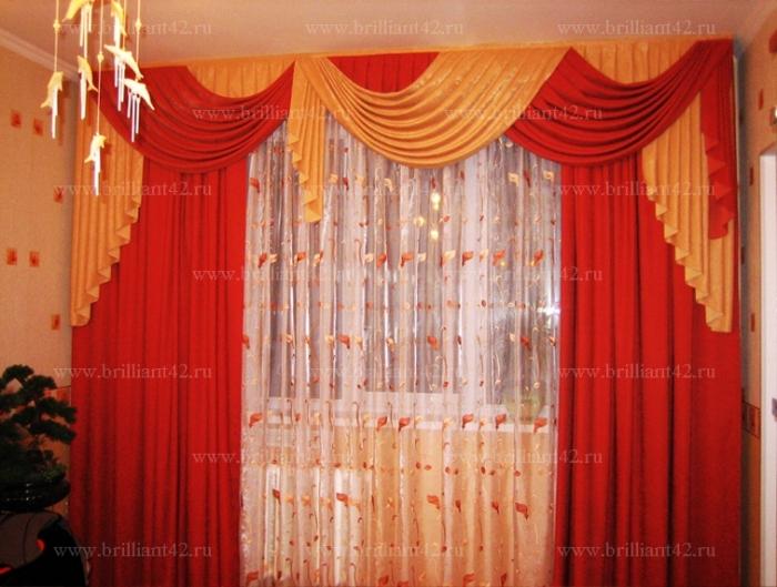 Шторы красные для зала фото