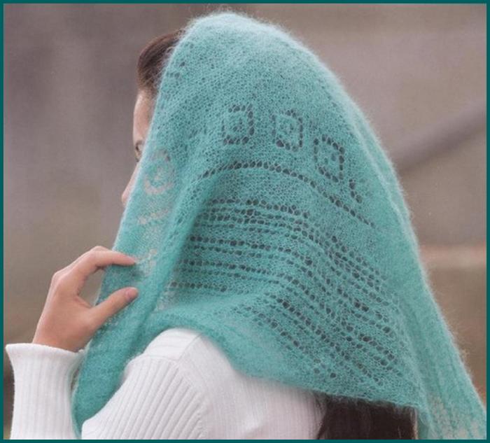 Вязание спицами косынка из мохера