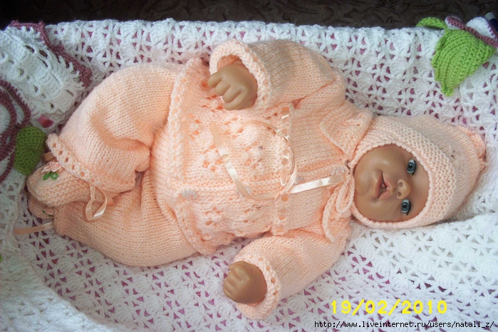 Вязание комплектов для новорожденных спицами 77