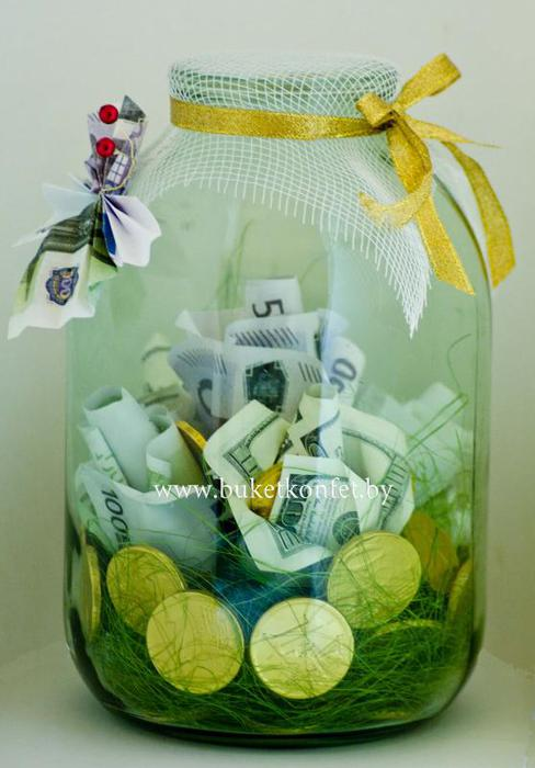 Подарок на юбилей своими руками из денег