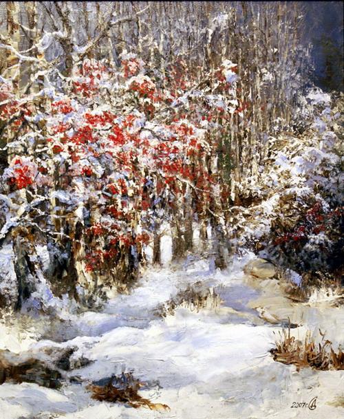 С.В. Дорофеев.  Рябина под снегом.