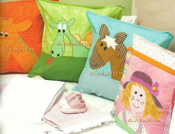 Как сшить детскую подушку с аппликацией 13
