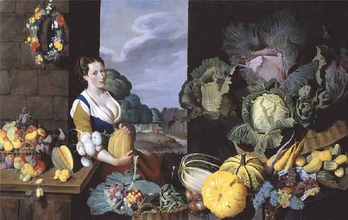 Sir Nathaniel Bacon.Cookmaid with Still Life of Vegetables and Fruit, c. 1620-1625 (700x441, 253Kb)
